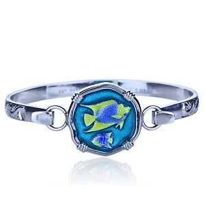 Guy Harvey Hook Bracelet with Angelfish Clasp in Sterling Silver and Full Color Enamel.